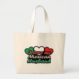 I Love My Mexican Husband Large Tote Bag