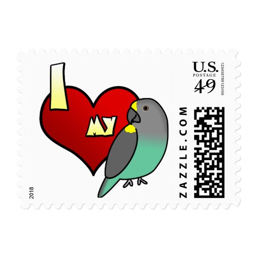 I Love my Meyers Parrot Postage Stamps