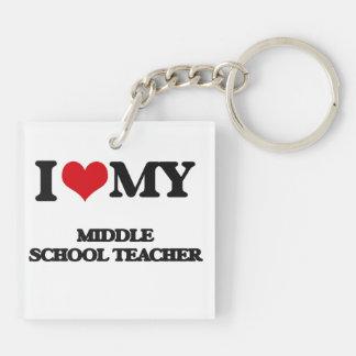 I love my Middle School Teacher Acrylic Key Chains