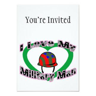 I Love My Military Man 5x7 Paper Invitation Card