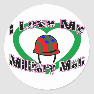 I Love My Military Man Classic Round Sticker