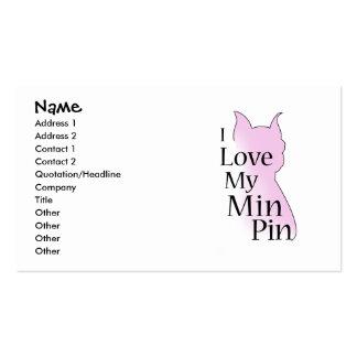 I Love My Min Pin Business Card Templates