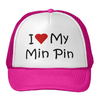 I Love My Min Pin Dog Breed Lover Gifts Hats