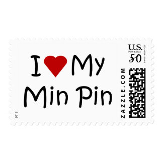 I Love My Min Pin Dog Breed Lover Gifts Postage