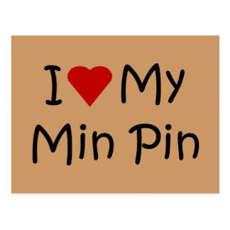 I Love My Min Pin Dog Breed Lover Gifts Postcard