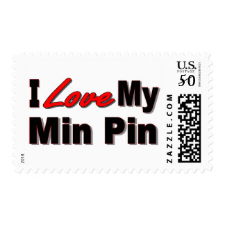 I Love My Min Pin Dog Gifts and Apparel Postage
