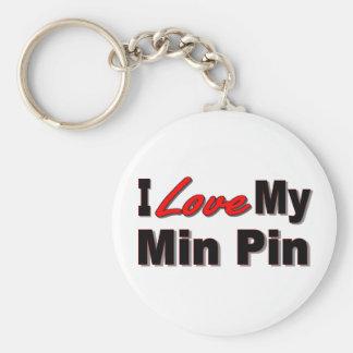 I Love My Min Pin Dog Keychain