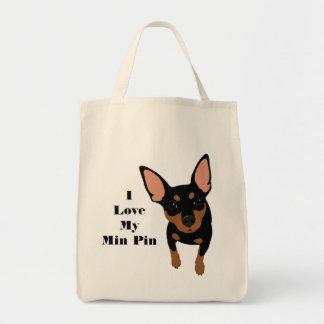 I Love My Min Pin Dog Tote (Black MIN PIN)