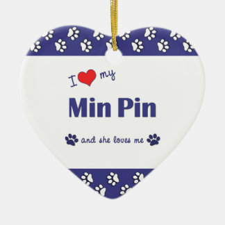 I Love My Min Pin (Female Dog) Double-Sided Heart Ceramic Christmas Ornament