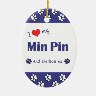 I Love My Min Pin (Female Dog) Double-Sided Oval Ceramic Christmas Ornament