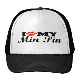 I Love My Min Pin Mesh Hat