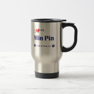I Love My Min Pin (Male Dog) 15 Oz Stainless Steel Travel Mug
