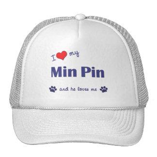 I Love My Min Pin (Male Dog) Mesh Hat