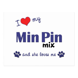 I Love My Min Pin Mix (Female Dog) Postcard