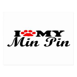 I Love My Min Pin Postcard