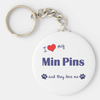 I Love My Min Pins (Multiple Dogs) Basic Round Button Keychain