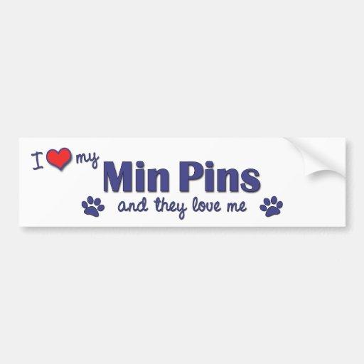 I Love My Min Pins (Multiple Dogs) Car Bumper Sticker