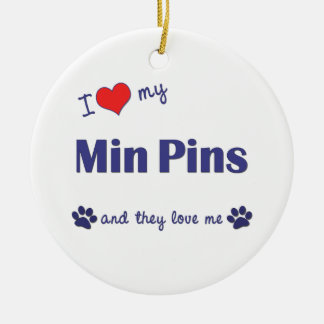 I Love My Min Pins (Multiple Dogs) Double-Sided Ceramic Round Christmas Ornament