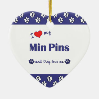 I Love My Min Pins (Multiple Dogs) Double-Sided Heart Ceramic Christmas Ornament