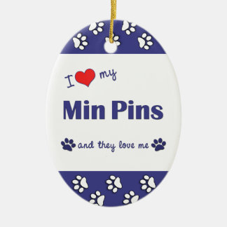 I Love My Min Pins (Multiple Dogs) Double-Sided Oval Ceramic Christmas Ornament