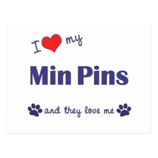 I Love My Min Pins (Multiple Dogs) Postcard