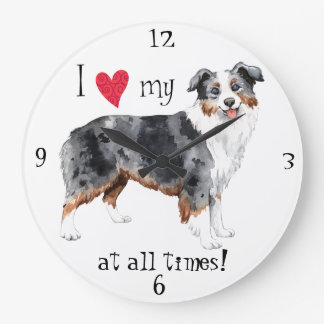 I Love my Mini American Shepherd Large Clock