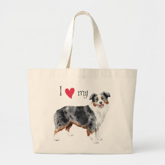 I Love my Mini American Shepherd Large Tote Bag
