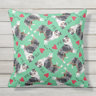 I Love my Mini American Shepherd Throw Pillow