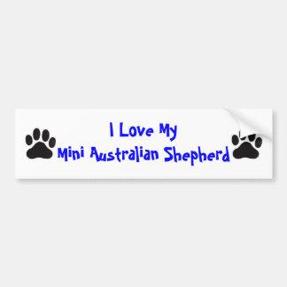 I Love My Mini Australian Shepherd Bumper Sticker