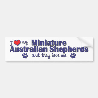 I Love My Mini Australian Shepherds (Multi Dogs) Bumper Sticker