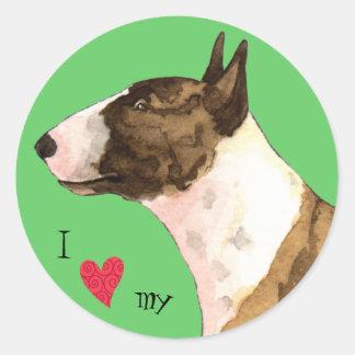 I Love my Mini Bull Terrier Classic Round Sticker