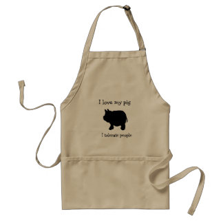 I Love My Mini Pig, I Tolerate People Adult Apron