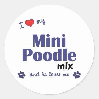 I Love My Mini Poodle Mix (Male Dog) Classic Round Sticker