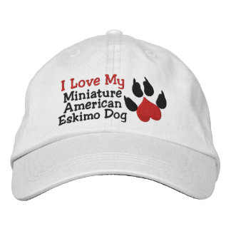 I Love My Miniature  American Eskimo Dog Paw Print Cap