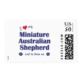 I Love My Miniature Australian Shepherd (Male Dog) Postage