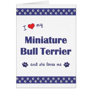 I Love My Miniature Bull Terrier (Female Dog) Card