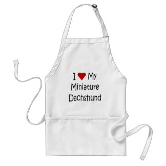 I Love My Miniature Dachshund Dog Lover Gifts Adult Apron