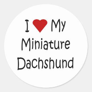I Love My Miniature Dachshund Dog Lover Gifts Classic Round Sticker
