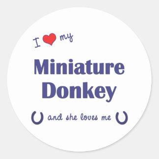 I Love My Miniature Donkey (Female Donkey) Classic Round Sticker