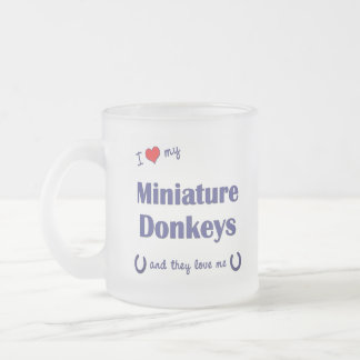 I Love My Miniature Donkeys (Multiple Donkeys) Frosted Glass Coffee Mug