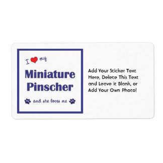 I Love My Miniature Pinscher (Female Dog) Label