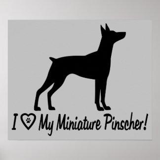 I Love My Miniature Pinscher in Silhouette Poster