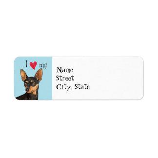 I Love my Miniature Pinscher Return Address Label