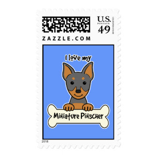 I Love My Miniature Pinscher Stamp