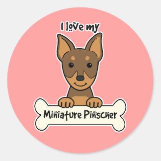 I Love My Miniature Pinscher Round Sticker