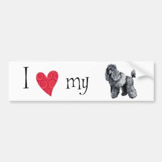 I Love my Miniature Poodle Car Bumper Sticker