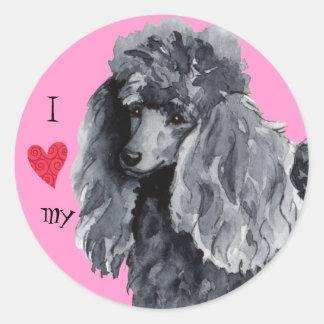 I Love my Miniature Poodle Classic Round Sticker