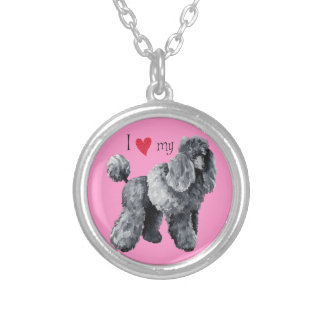 I Love my Miniature Poodle Silver Plated Necklace