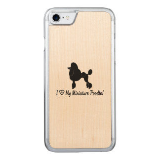 I Love My Miniature Poodle with Heart and Paws Carved iPhone 8/7 Case