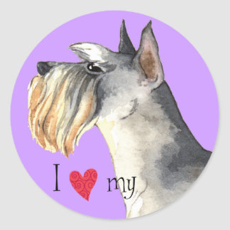 I Love my Miniature Schnauzer Classic Round Sticker